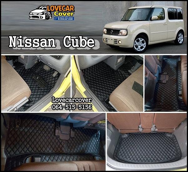 พรมปูพื้นรถยนต์ 6D สีดำล้วน Nissan Cube