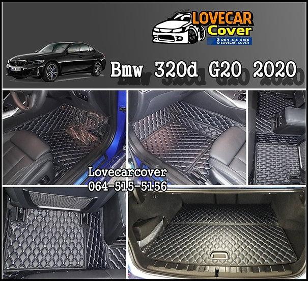 พรมรถยนต์ 6D สีดำด้ายฟ้า BMW 320D G20 2020
