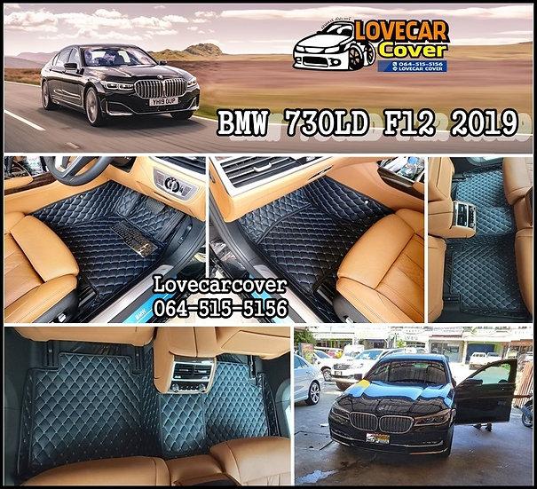 พรมรถยนต์ 6D สีดำด้ายฟ้า BMW 730LD F12 2019