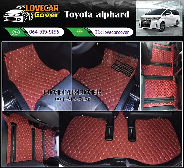 พรมรถยนต์ 6D สีแดงไวน์ Toyota alphard
