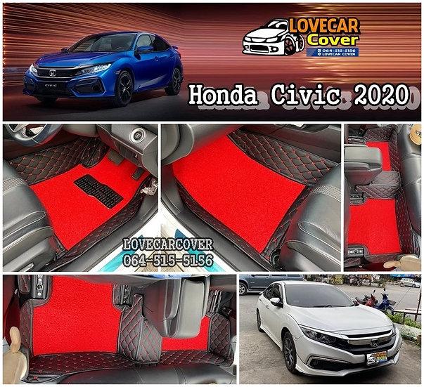 พรมปูพื้นรถยนต์ all new honda civic พรมสีดำด้ายแดง พรมไวนิลสีแดง