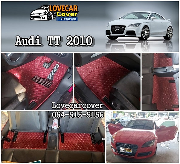 พรมปูพื้นรถยนต์ 6D สีแดงไวท์ AUDI TT 2010