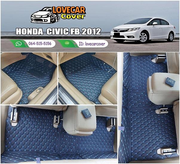 พรมรถยนต์ 6D สีดำด้ายฟ้า Honda Civic FB 2012