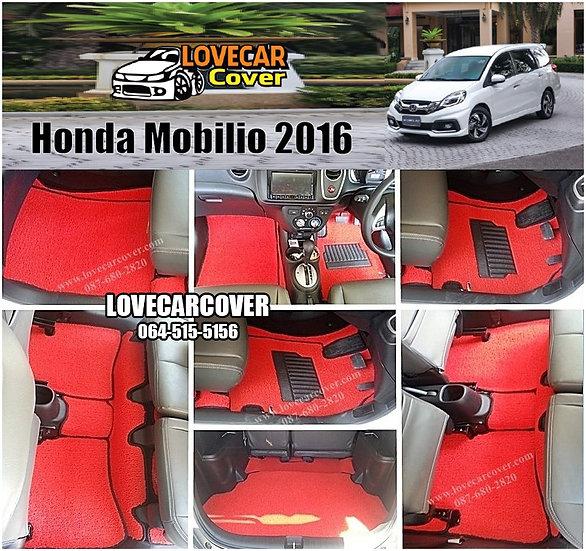 พรมดักฝุ่นรถยนต์ (พรมไวนิล) สีแดง Honda Mobilio 2016