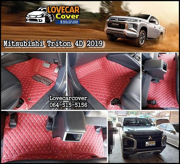 พรมรถยนต์ 6D สีแดงไวน์ Mitsubishi Triton 4Door 2019