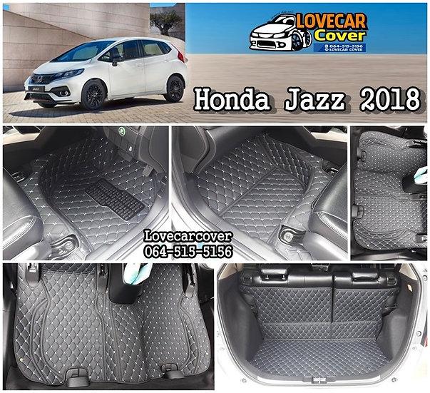 พรมรถยนต์ 6D สีดำด้ายฟ้า Honda Jazz 2018