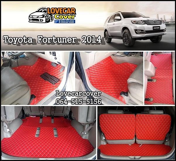 พรมปูพื้นรถยนต์ 6D สีแดงสด Toyota Fortuner 2014