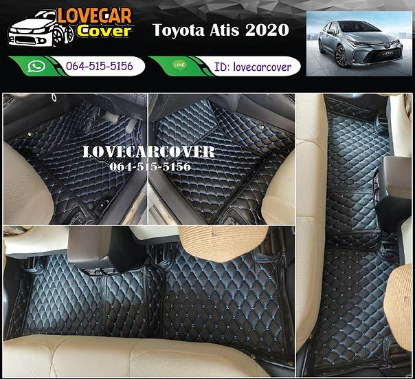 พรมรถยนต์ 6D สีดำด้ายฟ้า Toyota Altis 2020
