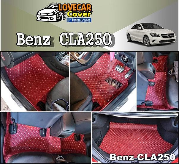 พรมปูพื้นรถยนต์ 6D สีแดงไวท์ Benz CLA250