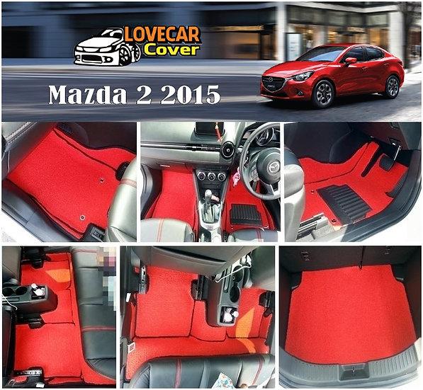 พรมดักฝุ่นรถยนต์ (พรมไวนิล) สีแดง Mazda 2 2015