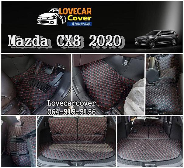 พรมรถยนต์ 6D สีดำด้ายแดง Mazda CX8 2020