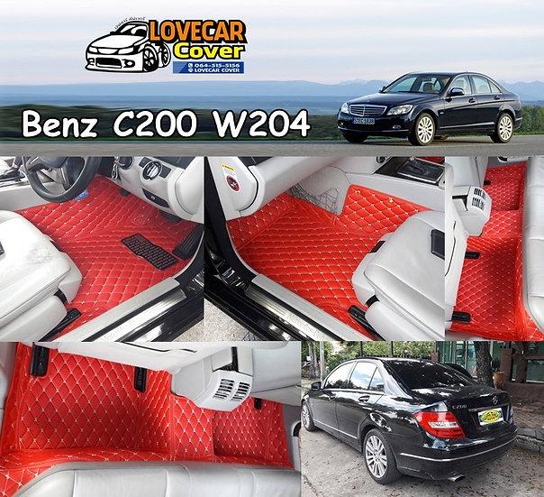 พรมปูพื้นรถยนต์ 6D สีแดงสด Benz C200 W204