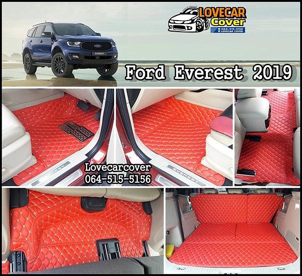 พรมปูพื้นรถยนต์ 6D สีแดงสด Ford Everest 2019