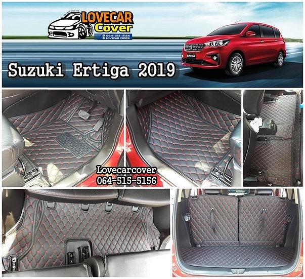 พรมรถยนต์ 6D สีดำด้ายแดง Suzuki Ertiga 2019