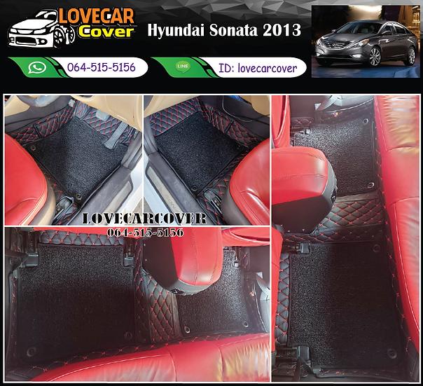 พรมรถยนต์ 7D สีดำด้ายแดง+ไวนิลสีดำ Hyundai Sonata 2013