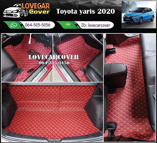 พรมรถยนต์ 6D สีแดงไวน์ Toyota Yaris 2020