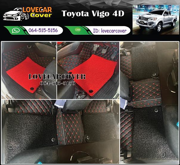 พรมรถยนต์ 7D สีดำด้ายแดง +ไวนิลสีแดง + ไวนิลสีดำ Toyota Vigo 4D