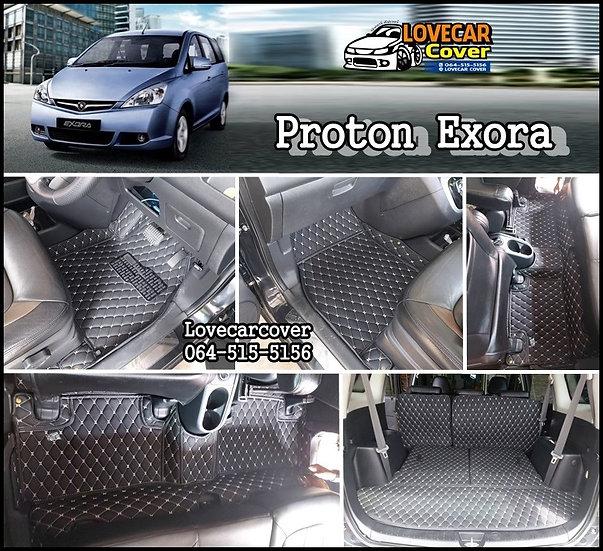 พรมรถยนต์ 6D สีดำด้ายครีม Proton Exora