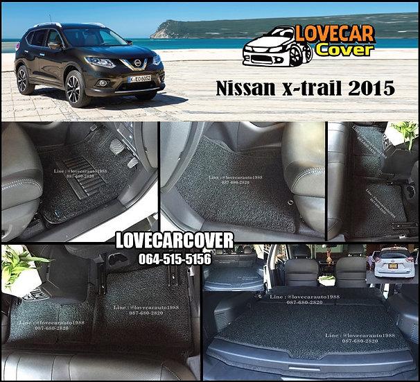 พรมดักฝุ่นรถยนต์ (พรมไวนิล) สีดำ Nissan X-trail 2015