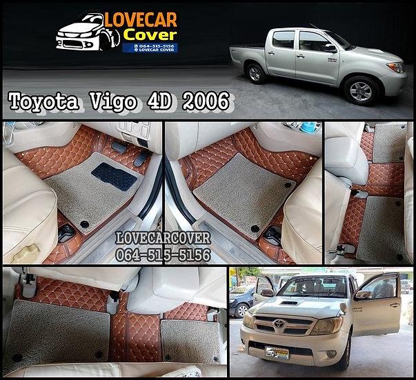 พรมรถยนต์ 7D สีกาแฟ+ไวนิลสีเทา Toyota Vigo Cab