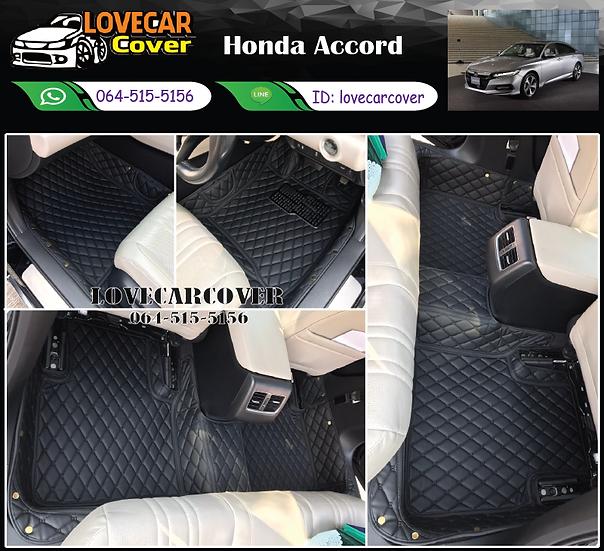 พรมรถยนต์ 6D สีดำล้วน Honda Accord