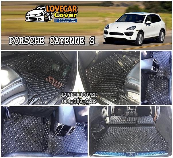 พรมรถยนต์ 6D สีดำด้ายครีม PORSCHE CAYENNE S