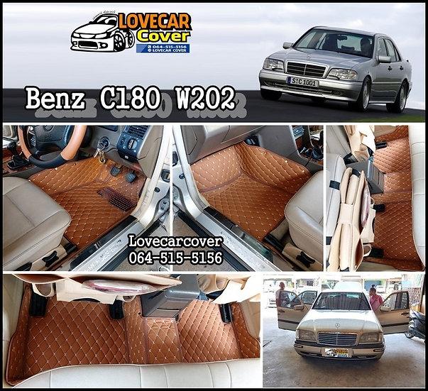 พรมปูพื้นรถยนต์ 6D สีน้ำตาลเข้ม Benz C180 W202