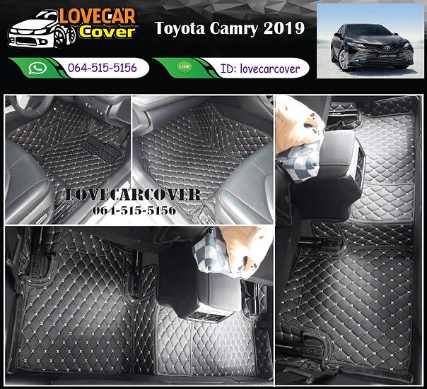 พรมรถยนต์ 6D สีดำด้ายครีม Toyota Camry 2019