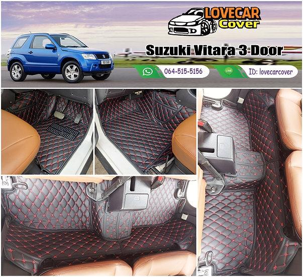 พรมรถยนต์ 6D สีดำด้ายแดง Suzuki Vitara 3 Door