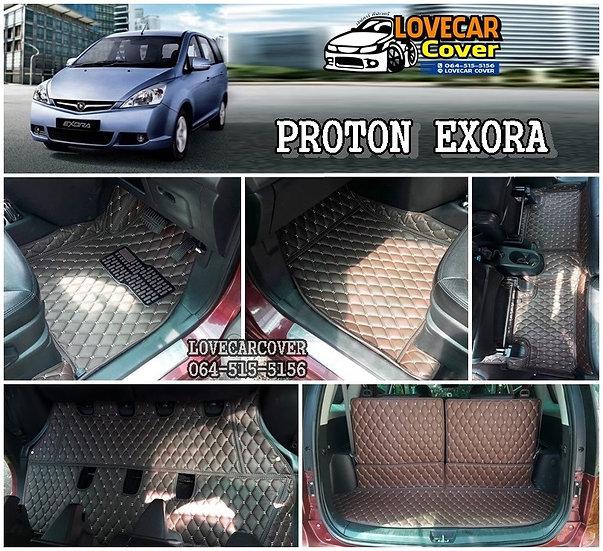 พรมปูพื้นรถยนต์ 6D สีกาแฟ PROTON EXORA