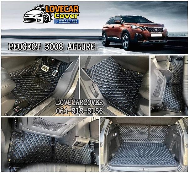 พรมปูพื้นรถยนต์ 6D สีดำด้ายฟ้า Peugeot 3008 Allure