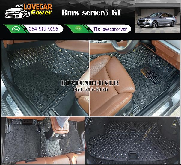 พรมรถยนต์ 7D สีดำด้ายครีม+ไวนิลสีดำ Bmw serier5 GT