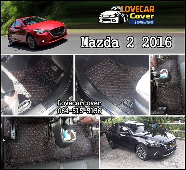 พรมปูพื้นรถยนต์ 6D สีดำด้ายแดง Mazda 2 2016