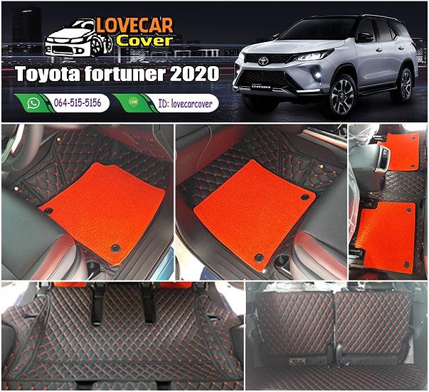 พรมรถยนต์ 7D สีดำด้ายแดง + ไวนิลสีแดง Toyota Fortuner 2020