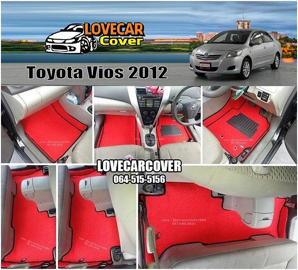 พรมดักฝุ่นรถยนต์ (พรมไวนิล) สีแดง Toyota Vios 2012