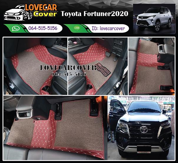 พรมรถยนต์ 8D สีแดงไวน์ + ไวนิลสีน้ำตาล Toyota Fortuner 2020