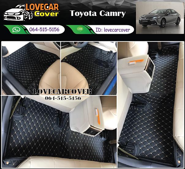 พรมรถยนต์ 6D สีดำด้ายทอง Toyota Camry