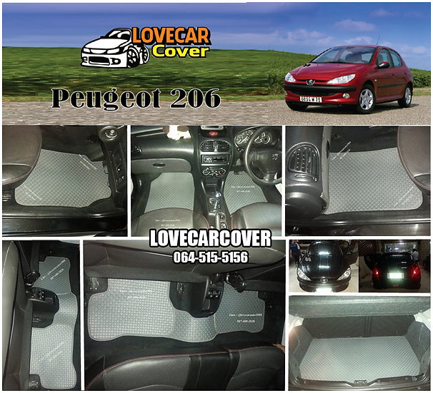 ผ้ายางกระดุมใหญ่ EVA สีเทา Peugeot 206