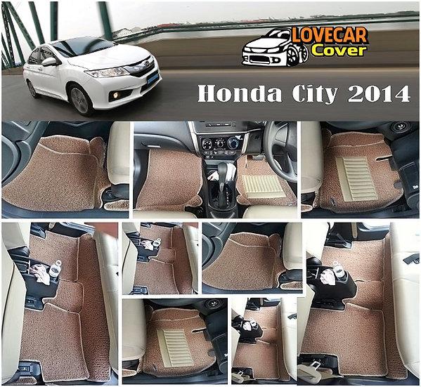 พรมดักฝุ่นรถยนต์ (พรมไวนิล) สีน้ำตาล Honda City 2014