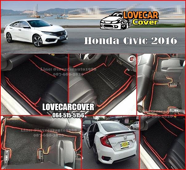 พรมดักฝุ่นรถยนต์ (พรมไวนิล) สีดำด้ายแดง Honda Civic 2016