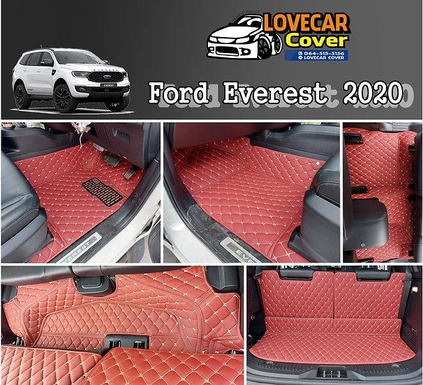 พรมปูพื้นรถยนต์ 6D สีแดงไวท์ Ford Everest 2020