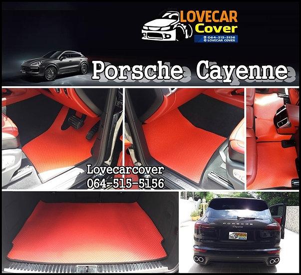 พรมกระดุมเล็ก PVC สีแดง Porsche cayenne