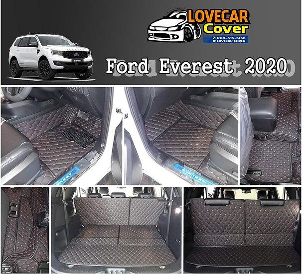 พรมปูพื้นรถยนต์ 6D สีดำด้ายแดง Ford Everest 2020