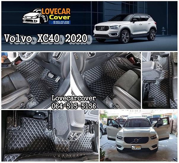 พรมปูพื้นรถยนต์ 6D สีดำด้ายครีม Volvo XC40 2020