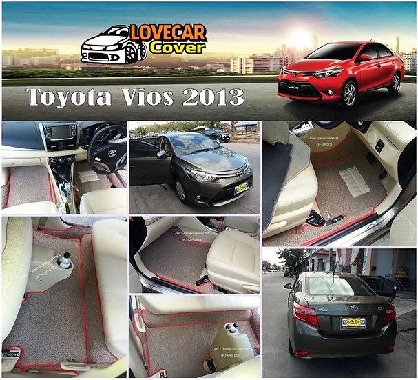 พรมดักฝุ่นรถยนต์ (พรมไวนิล) สีน้ำตาลขอบสีแดง Toyota Vios 2013