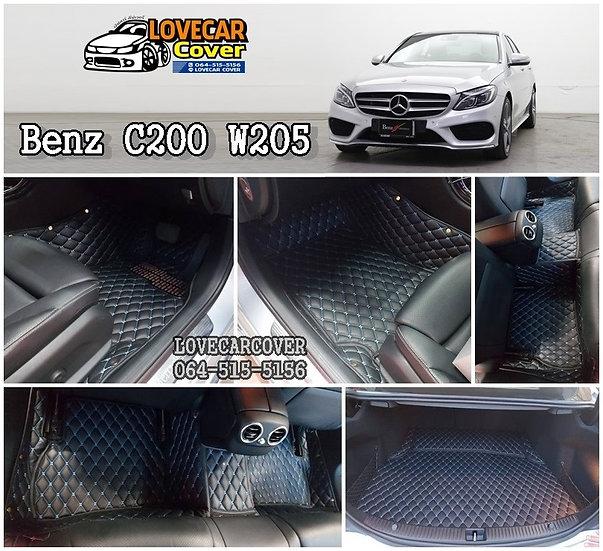 พรมปูพื้นรถยนต์ 6D สีดำด้ายฟ้า Benz C200 W205