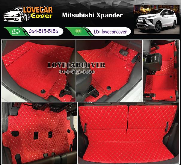 พรมรถยนต์ 7D สีแดงสด+ไวนิลสีแดงสด Mitsubishi Xpander