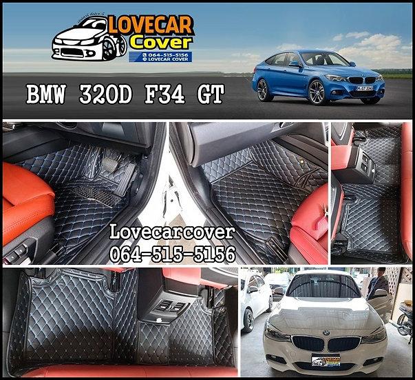 พรมรถยนต์ 6D สีดำด้ายฟ้า BMW 320D F34 GT