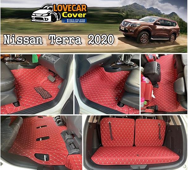 พรมรถยนต์ 6D สีแดงไวน์ Nissan Terra