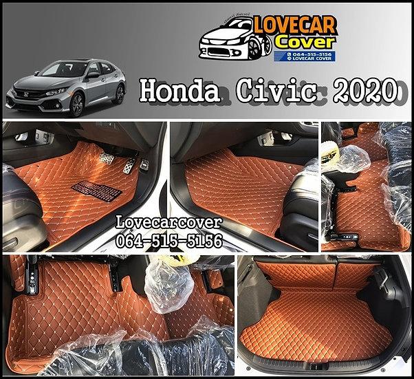 พรมรถยนต์ 6D สีน้ำตาลเข้ม Honda Civic 2020